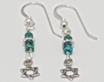 Tiny Star of David  Earrings, Turquoise thread Jewish Star, Magen David Charm Jewelry, Jewish Earrings, Judaica Jewelry, Gift for Her