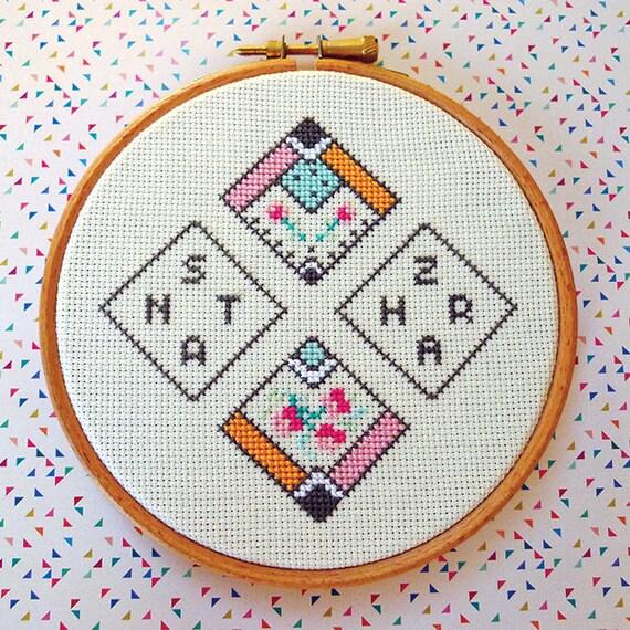 Zahara - Santa - Fan cross stitch art in a hoop