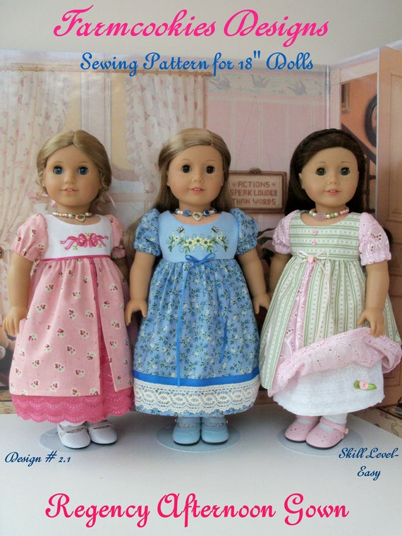 PRINTED SEWING PATTERN fits like American Girl Doll Clothes / Regency Afternoon Gown by Farmcookies / 18 Inch Doll Clothes Pattern