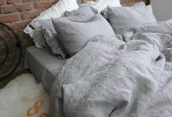Natürliche Leinen Bettwäsche Stonewashed Königin Bettbezug Nordischen  Europäischen Flachs Leinen Grau Leinen Sham Abdeckung Duvet Cover Bio  Bettwäsche ...
