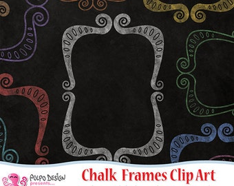 Colorful Chalkboard Frames clipart. Digital clip art. Commercial & personal Use.Instant Download. Chalk frames clip art Border Frame clipart