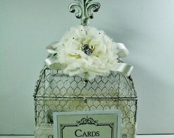 Wedding Card Box, Antique White, Shabby Chic Cream, Card Box, Wedding Money Holder Vintage, White Wedding Bird Cage