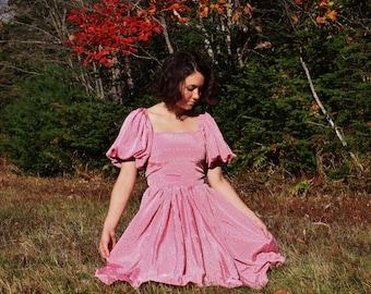 Lovely Pink 1970's Flower Dress