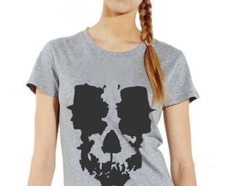 skull optical illusion: S to XXL 100% hand made women's T-shirt