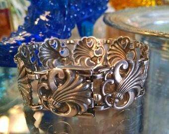 Victorian Bracelet, Art Nouveau Bracelet, Victorian Sterling Bracelet, Sterling Bracelet with Floral Motif Links
