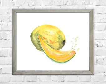 Kitchen Wall Art, Fruit Watercolor, Kitchen Print, Melon Watercolor Painting, Cantaloupe Botanical Watercolor, Kitchen Wall Decor