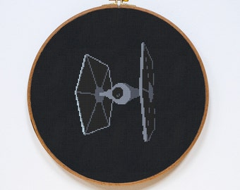 TIE Fighter, Star Wars Cross Stitch Pattern, Imperial Fleet StarWars Cross Stitch Easy Chart, PDF Format, Instant Download