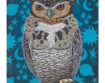 """GICLEE (8 x 10)-""""Creature Of The Night"""" by Marisa Ray, Owl with stars Bird art"""