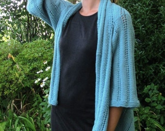 Sea Glass Shawl Cardigan, a knitted rectangle with sleeves.  PDF knitting pattern