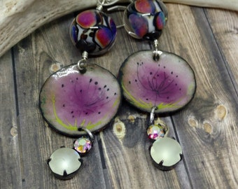 Leopard blossoms French Enamel Artisan Made Earrings by Howubeadddoin 3""
