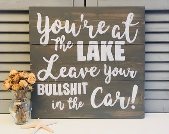 Rustic Lake House Sign; Personalized Lake Rules Wall Hanging; Vacation Home Decor; Welcome to the Lake; Lake House