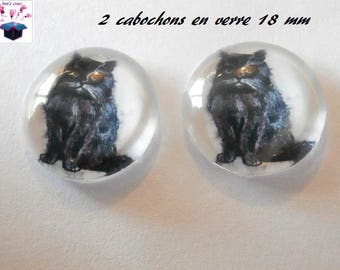 2 cat themed 18mm domed glass cabochon