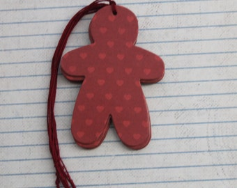 15 Christmas gingerbread man red hearts Chipboard Covered gift tags
