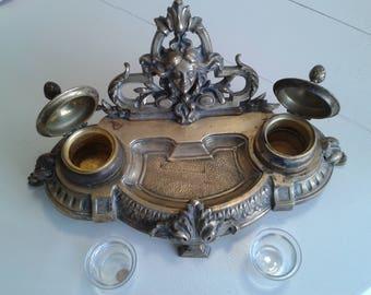 Double Inkwell bronze.antiquite - folk art - antiques - decor - collection - Empire - industrial - loft - tool - antique - vintage - rare