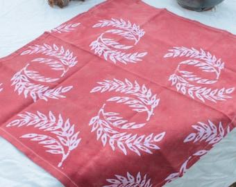 pastel rust batik cotton tea towel wheat pattern