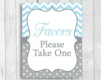 SALE Favors Please Take One Printable 5x7, 8x10 Baby Shower Favor Table Sign - Light Blue and Gray Chevron and Polka Dots - Instant Download