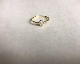 Pear Cut Ring, Drop Ring,  Pear Ring, Pear Drop Ring- Drop Cut Ring- Solitaire Ring- Pear cut solitaire ring,Silver Ring,Cubic Zirconia Ring