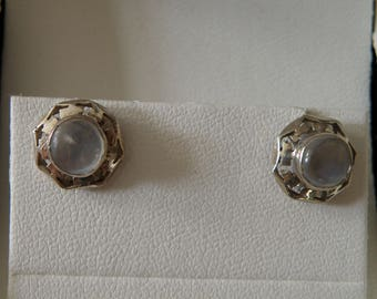 Mid Century Octagon Sterling Silver Moonstone Earrings