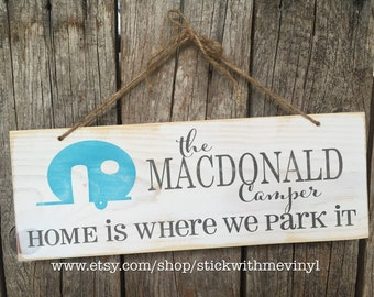 trailer sign, travel trailer sign, personalized sign, trailer decor, camping sign, camper sign, camper decor, camping decor, wood sign,