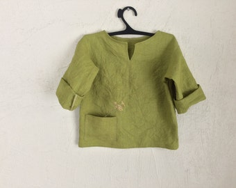 Linen tunic for a baby boy, green linen t-shirt for a baby