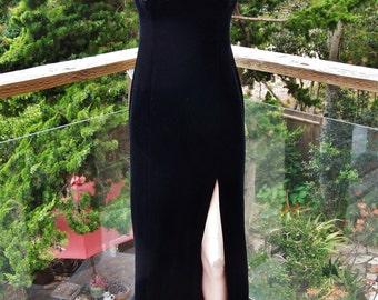 Velvet, Gown, Black, Long, sleeveless, 70s, Romantic, Stretch velvet dress, size S / M
