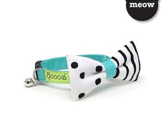 GOOOD Cat Collar   Mighty Bow - Spots N Stripes   100% Pattern Cotton Fabric   Safety Breakaway Buckle