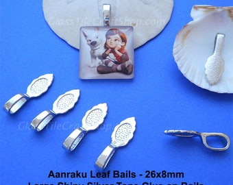 25 Aanraku Bails - 26x8mm Silver Color Glue on Leaf Bails for Pendants (LAANRAKU)