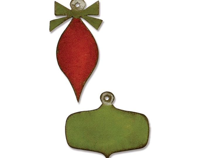 Tim Holtz Holiday Sizzix Movers and Shapers Magnetic Die Set - Mini Retro Ornaments 660054
