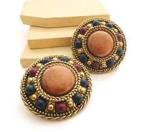 Vintage Chunky Distressed Copper Red Blue Green Gold Dome Clip On Earrings J18