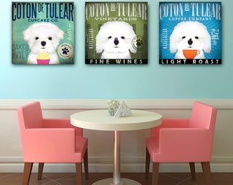 Coton de Tulear dog wine coffee or cupcake company bar art artwork on gallery wrapped canvas by stephen fowler