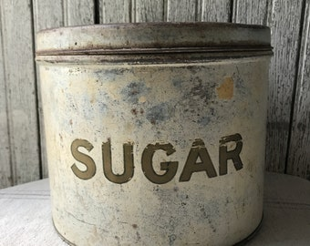 Vintage Canister Metal Sugar Farmhouse Kitchenware Storage Tin Bin Country Rustic Container