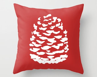 Woodland Pinecone Throw Pillow Cover - Red and White Holiday  Accent Pillow - Pine Decorative Pillow - Home Decor - includes insert