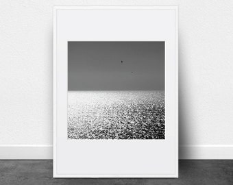 Seascape Photography, Printable Art, Black and White Photography, Glistening Water, Mediterranean, Coast, Ocean, Sea, Printable Wall Art,
