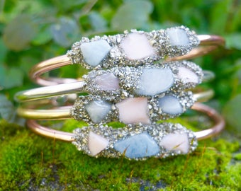 Gemstone Bangle | Aquamarine Bangle | Opal Bangle | Opal Jewellery | Birthstone Cuff | Gemstone Cuff | Pyrite Cuff | Gemstone Bracelet
