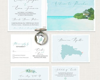 Punta Cana Dominican Republic Destination wedding invitation Caribbean beach blue illustrated watercolor wedding invitation Deposit Payment