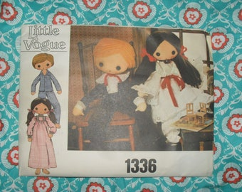 "Vintage Little Vogue Sewing Pattern - 32"" Boy and Girl Doll  -   1970's -  #1336"
