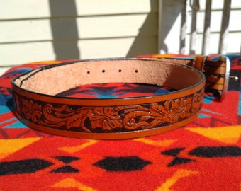 1.5 Inch Wide tooled Leather Belt