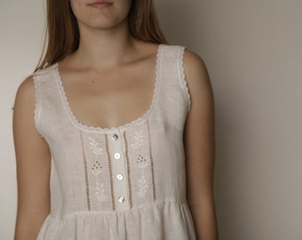 Linen White Gown/ Sleeveless Robe Linen/ Vintage Inspired Hand Embroidered Linen Night Wear For Woman/ Eco friendly Sleepwear