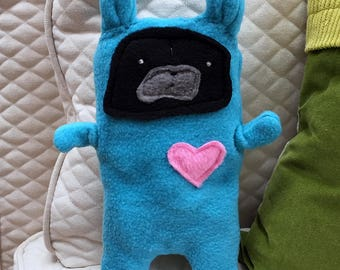 Ethan ~ The Black Pug Bunny Bummlie ~ Stuffing Free Dog Toy ~ Ready To Ship Today