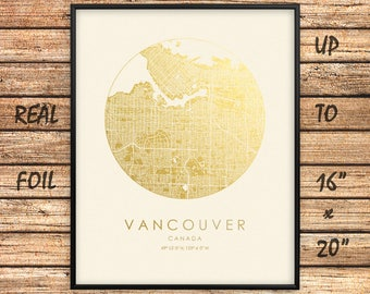 Vancouver map etsy vancouver map print gold silver foil print circle city map wall art poster up to 16x20 gift for home office decor canada goldengraphy gumiabroncs Image collections