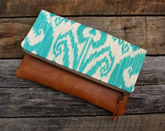 Turquoise and Ivory ikat fabric Fold over Clutch / Kindle Case / LAST ONE
