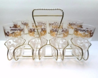 Vintage Fruit Themed Glasses in Carrier Caddy