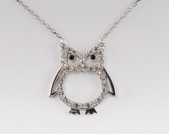 Sterling Silver Pavé CZ Owl Necklace 17 Inches