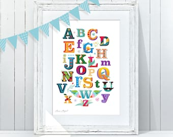 ABC Poster | Alphabet Kids Wall Decor | Playroom Art | ABC Kids Wall Art | Baby Room ABC