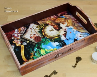 Mad tea party, Serving tray, Alice in Wonderland, home decor, wooden kitchen decor