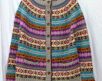 EYE CANDY– handknit fair isle cardigan