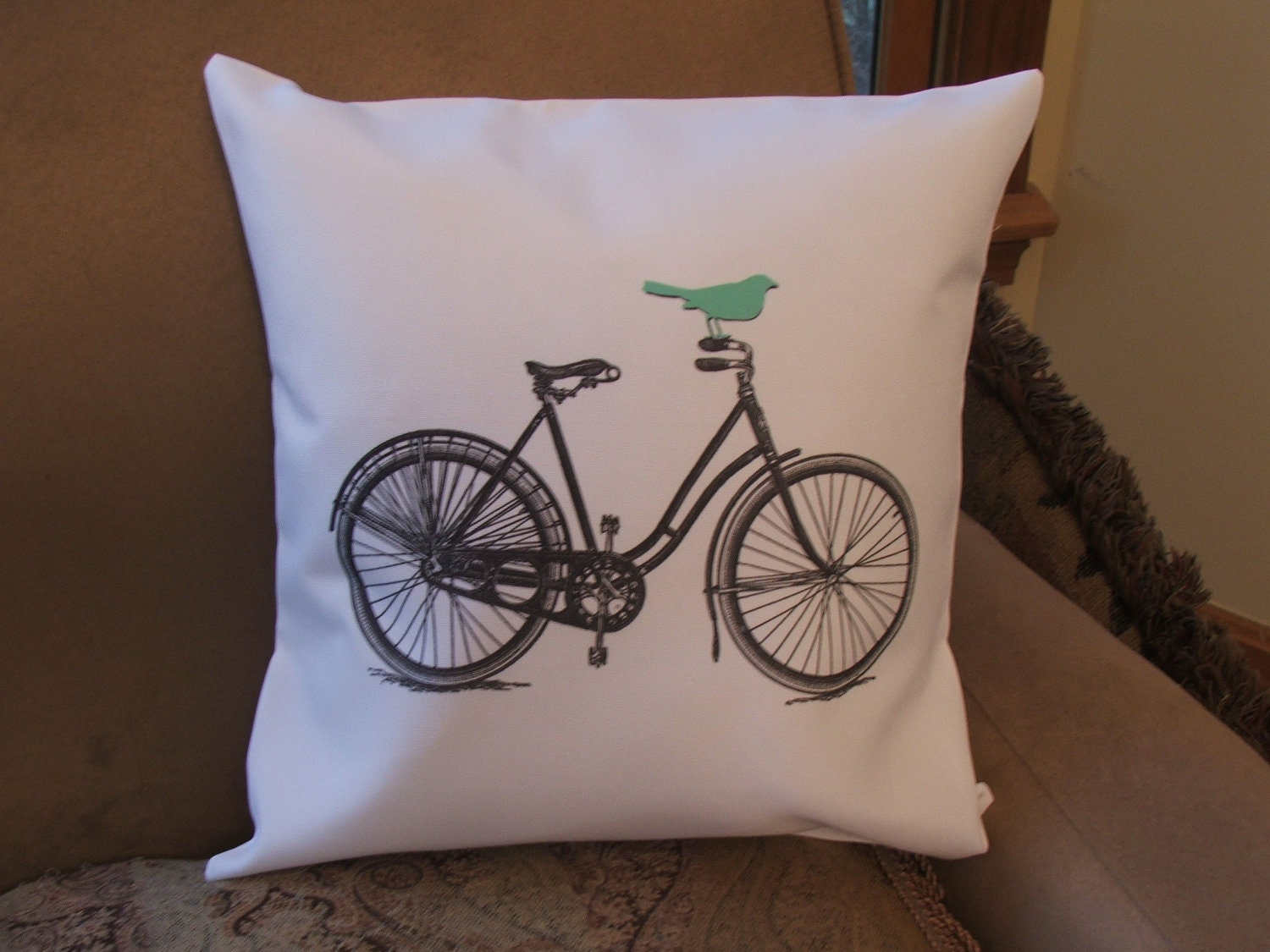 Bicycle pillow cover graphic throw pillow cover bird on bike