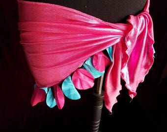 Hot Pink Turquoise Petal Shiny Stretch Bellydance Dance Workout Hip Scarf Skirt M/L