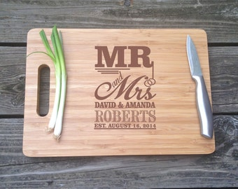 Mr & Mrs Personalized Engraved Cutting Board  -  Large Chopping Block BAMBOO Cutting Board 13 X 9.75 X .5 Wedding Gift House Christmas Gift
