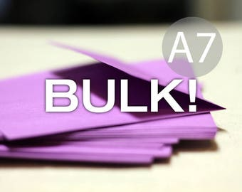 "BULK! 100 5x7 Purple Envelopes, A7 Wedding Envelopes - 5x7 inches (true size 5 1/4"" x 7 1/4"") - Ultra Violet"